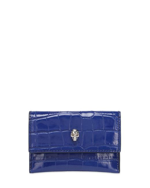 Кожаная Кредитница Envelope Alexander McQueen, цвет: Blue