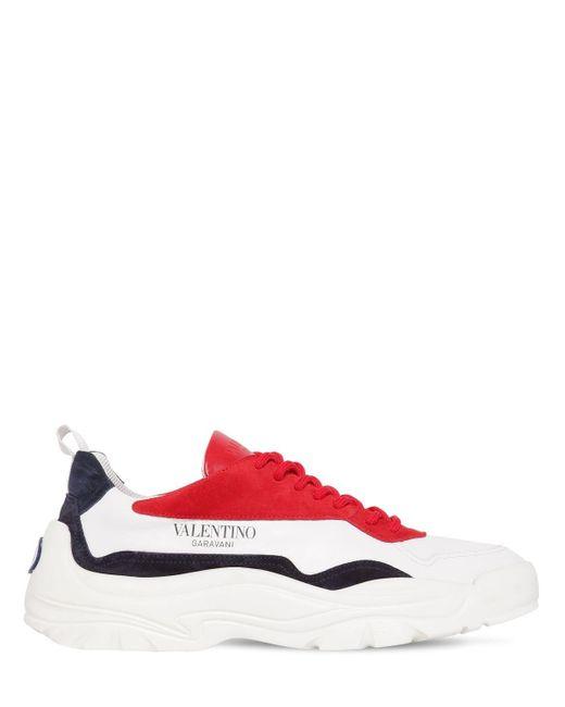 メンズ Valentino Gum Boy レザー&スエード ロートップスニーカー Red