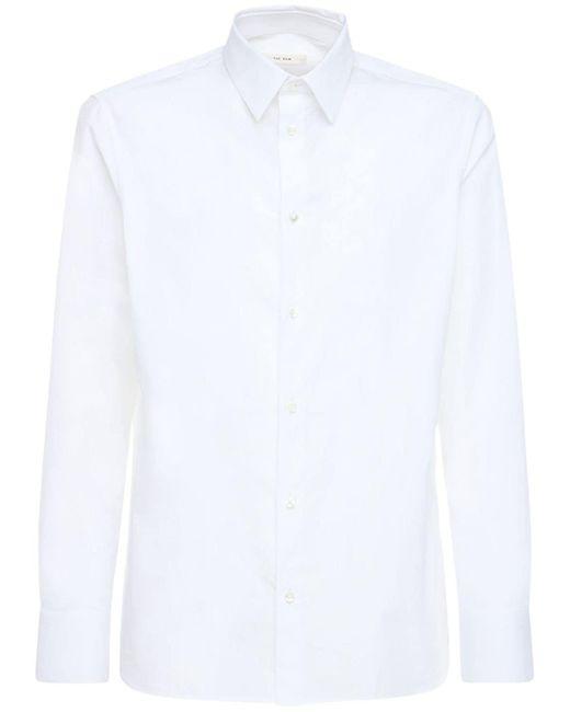 メンズ The Row Jasper Double 120 コットンポプリンシャツ White