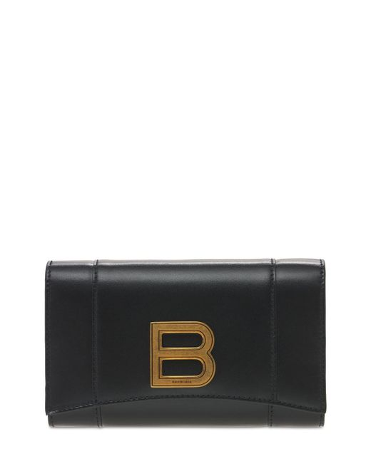 Кожаный Кошелек Hourglass Balenciaga, цвет: Black