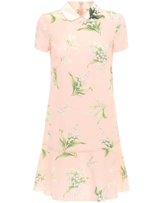Мини-платье Из Крепдешина С Принтом RED Valentino, цвет: Pink