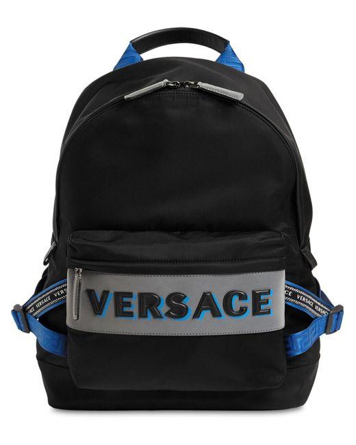 メンズ Versace ブラック And ブルー ナイロン バックパック Black