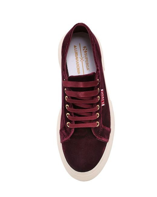 new product 35395 62a83 ... Superga - Red Lvr Editions Velvet Platform Sneakers - Lyst ...