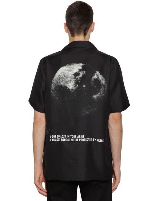 メンズ Valentino シルクボウリングシャツ Black