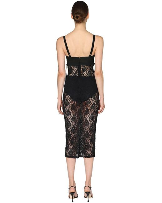 Dolce & Gabbana サテン&レース ミディドレス Black