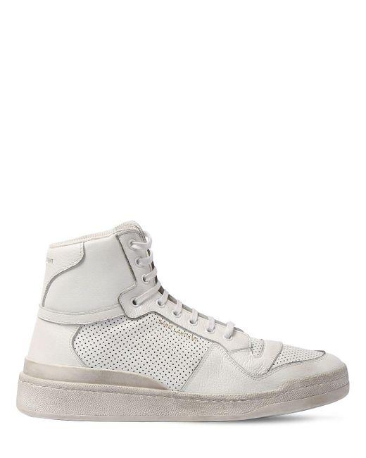 Высокие Кожаные Кроссовки С Перфорацией Saint Laurent для него, цвет: White