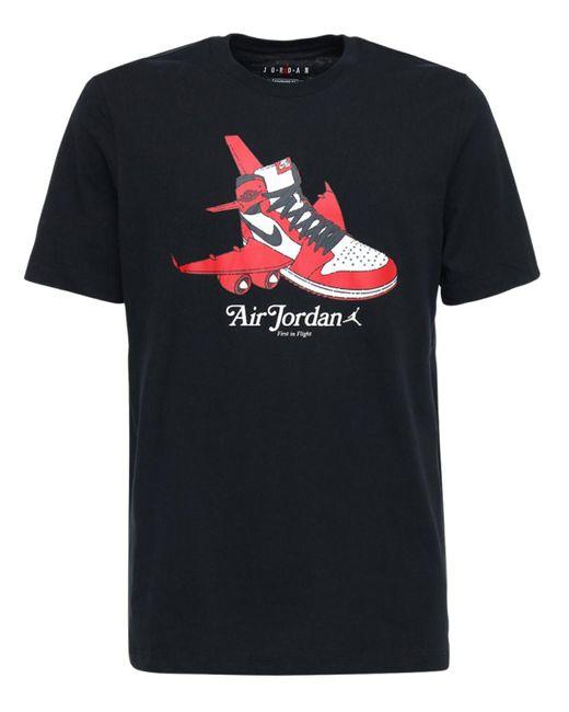 Nike Black Jordan Graphic Cotton T-shirt for men