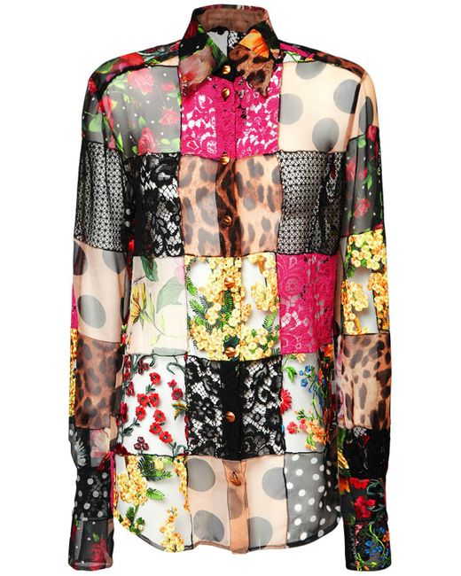 Dolce & Gabbana Multicolor Hemd Aus Spitze Und Crepe De Chine