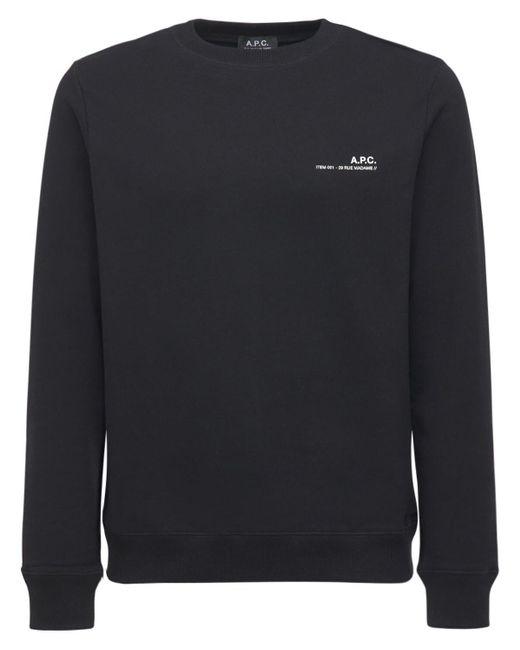 メンズ A.P.C. コットンジャージースウェットシャツ Black