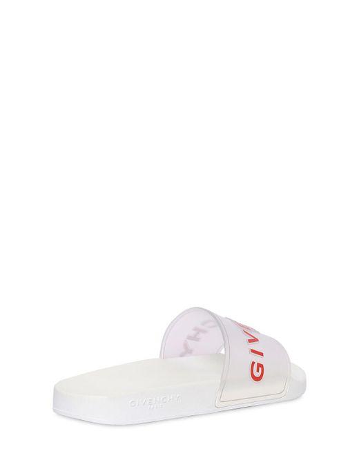メンズ Givenchy クリアラバースライドサンダル White