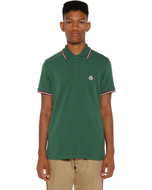Moncler Green Cotton Piquet Polo for men
