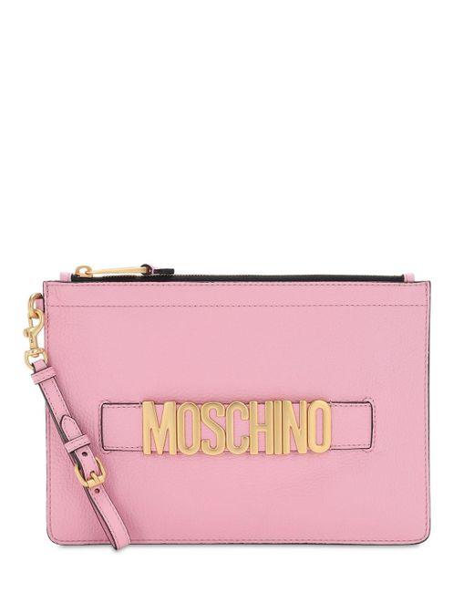Moschino グレインレザーポーチ Pink