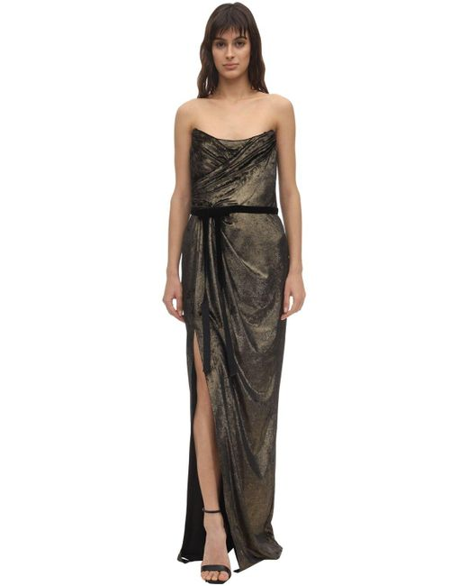 Marchesa notte ベルベットドレス Metallic