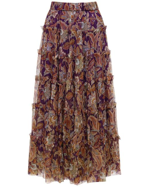 Миди-юбка Из Шелка Zimmermann, цвет: Purple