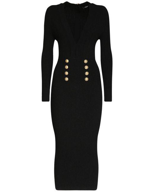 Balmain ビスコースブレンドニットドレス Black