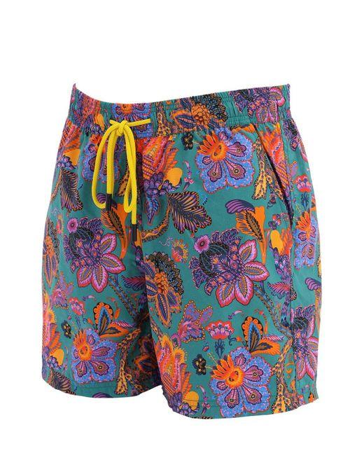 Etro Men's Blue Printed Swim Shorts
