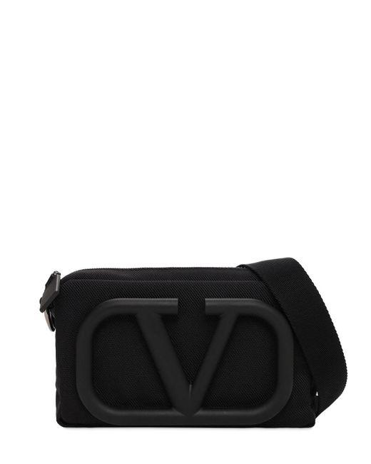 メンズ Valentino Garavani V Mini ナイロンクロスボディバッグ Black