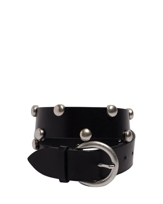 Isabel Marant 40mm Goby Leather Belt Black