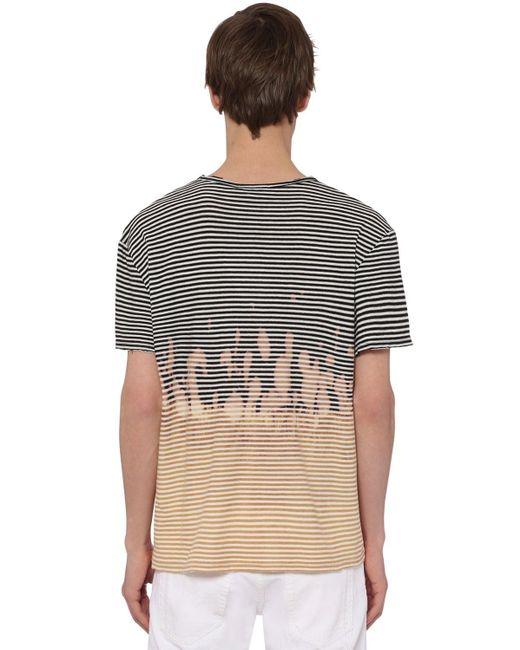 T-Shirt En Jersey De Coton Rayé Tie Dye Balmain pour homme en coloris Multicolor