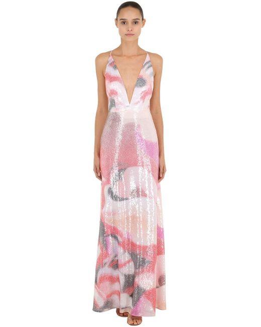 Vestido Largo De Satén De Seda Con Lentejuelas Emilio Pucci de color Pink