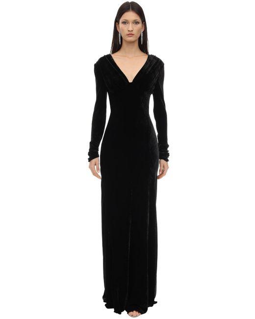 Maria Lucia Hohan Vivia シルクベルベットドレス Black