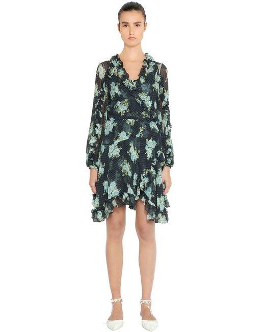 Zimmermann - Blue Ruffled Floral Print Silk Dress - Lyst