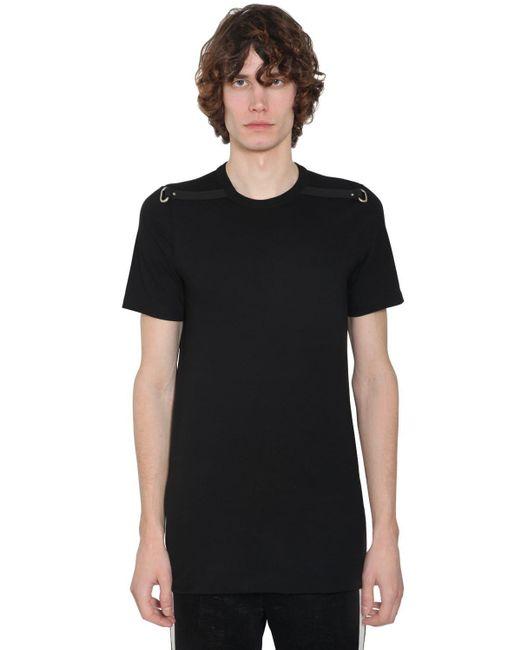 メンズ Rick Owens クルーネックコットンジャージーtシャツ Black