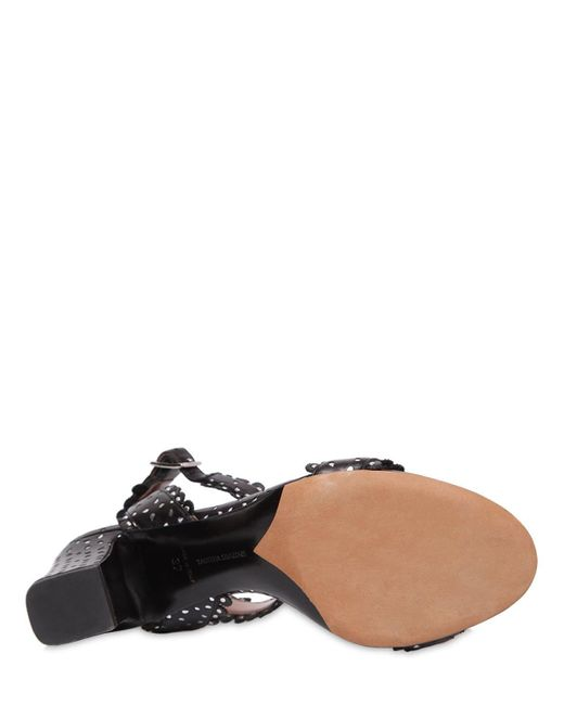 Tabitha Simmons Black Leticia Perforated Leather Sandal