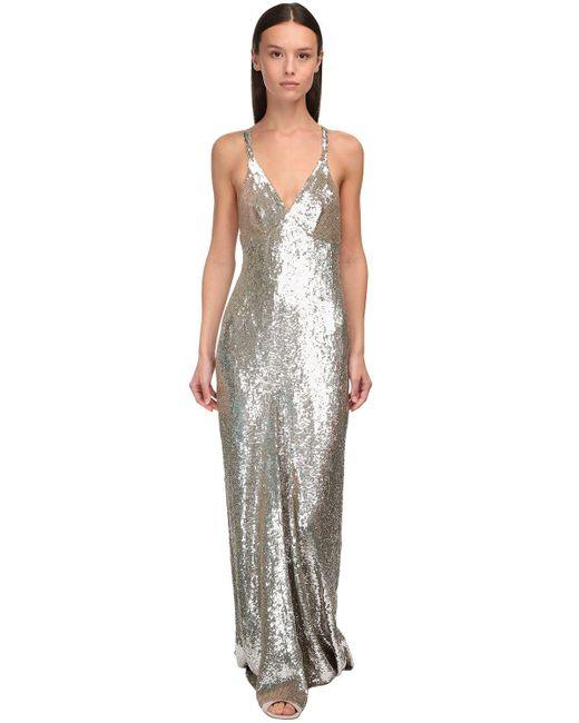 Temperley London スパンコールロングドレス Metallic