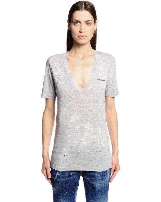 DSquared² - Gray Printed Cotton Jersey T-shirt - Lyst