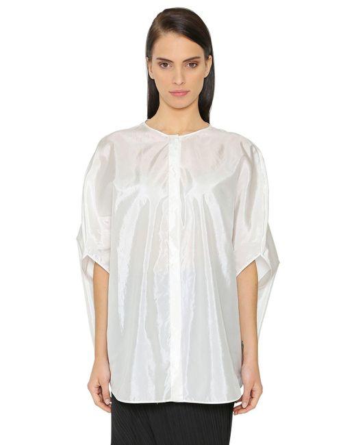 Jil Sander - White Oversized Silk Blend Satin Shirt - Lyst