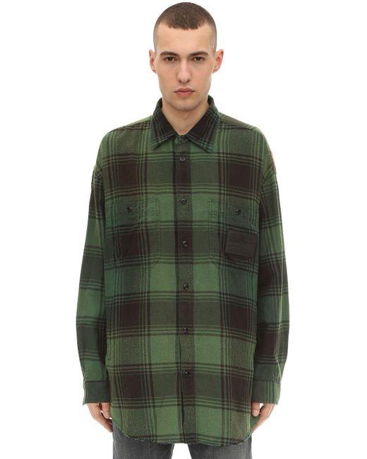 メンズ DIESEL コットン ロング ワーカーシャツジャケット Green
