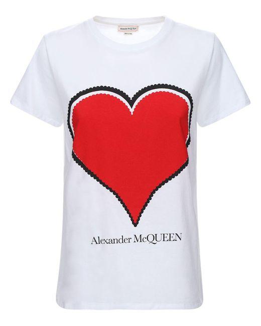 Alexander McQueen コットンジャージーtシャツ Red
