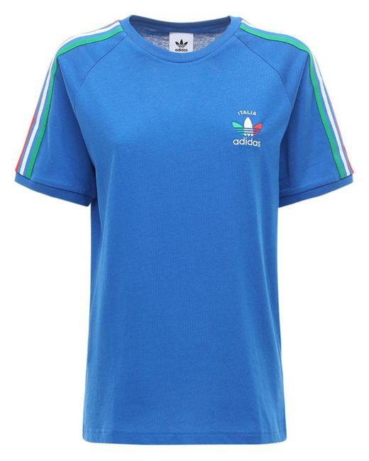 Adidas Originals 3-stripes Italy Tシャツ Blue