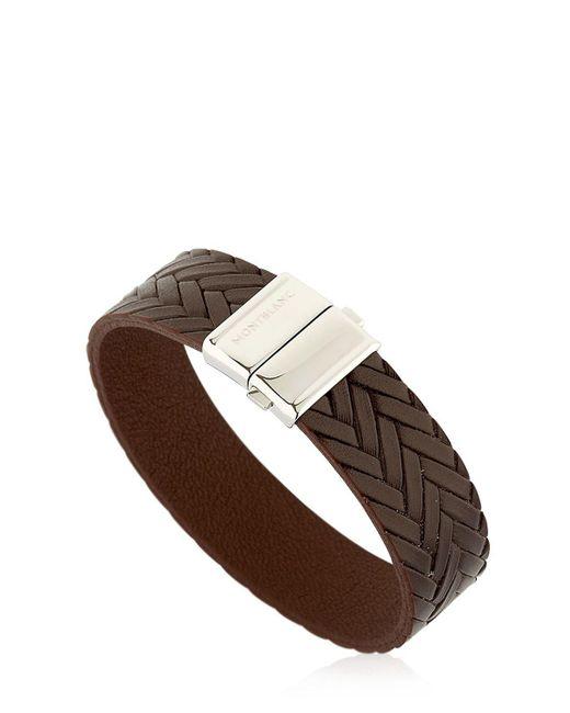 Montblanc | Brown Steel & Leather Bracelet | Lyst