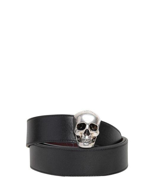 メンズ Alexander McQueen Skull リバーシブルレザーベルト 4cm Black