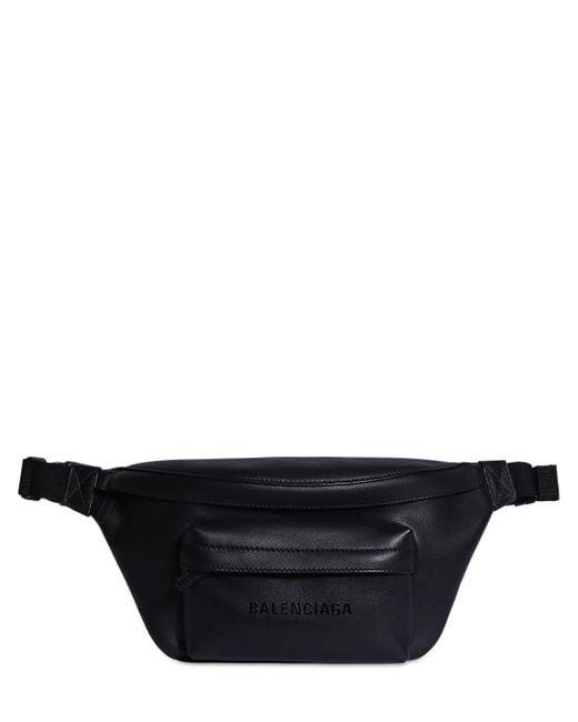 メンズ Balenciaga レザーベルトバッグ Black