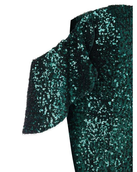 Marchesa notte オフショルダースパンコールドレス Green
