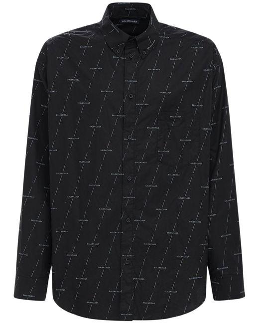 メンズ Balenciaga Diagonal License コットンポプリンシャツ Black