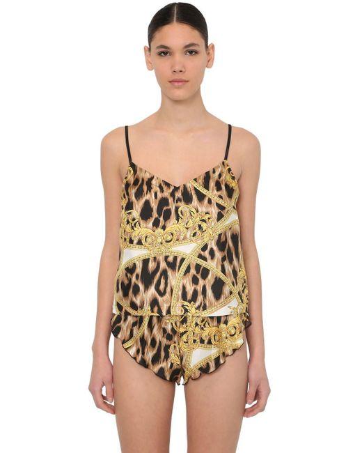 Пижама Из Шелкового Атласа С Принтом Versace, цвет: Multicolor
