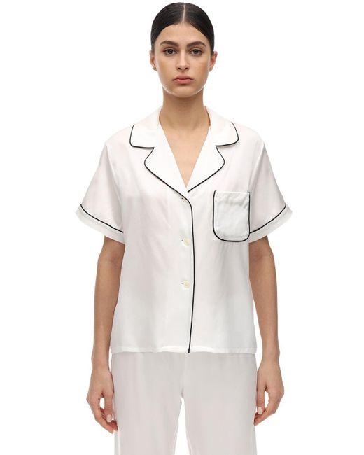 Morgan Lane Katelyn シルクシャルムーズパジャマシャツ White