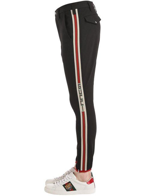 メンズ Gucci ストレッチギャバジン ライディングパンツ Black