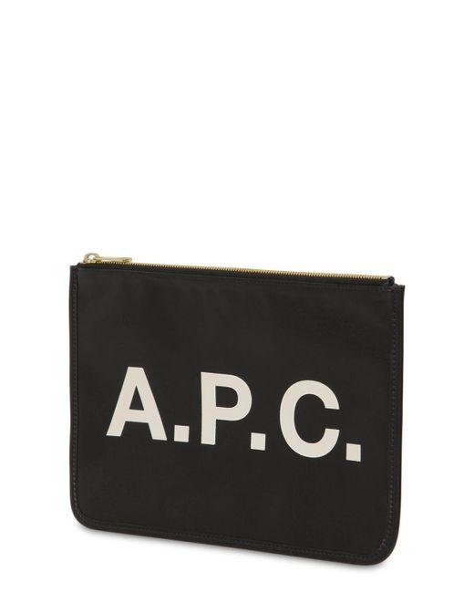 Pochette à logo imprimé A.P.C. en coloris Black