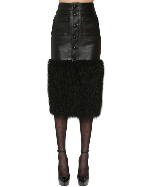 Saint Laurent エコファー&レザースカート Black