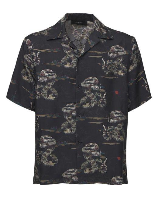 メンズ Amiri Rattlesnake シルクツイルシャツ Black