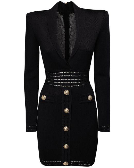 Платье Из Вискозного Трикотажа Balmain, цвет: Black