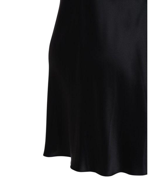 Luna Di Seta レース&サテンスリップドレス Black