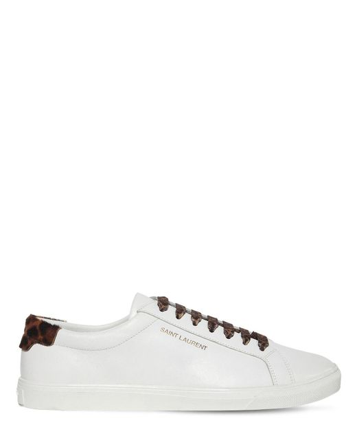 Saint Laurent White Andy Leather & Calf Hair Sneakers for men