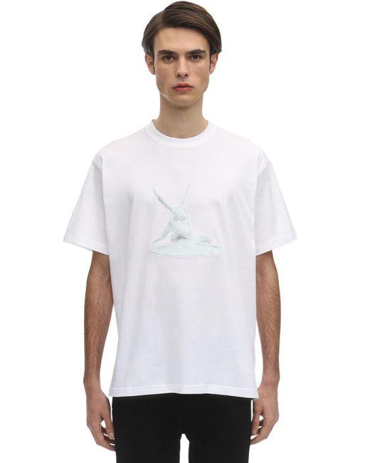 メンズ Burberry オーバーサイ コットンジャージーtシャツ White