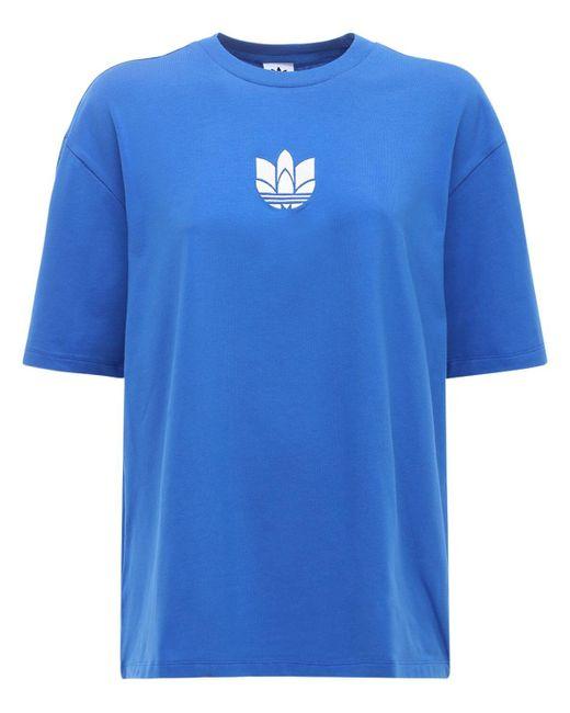 Adidas Originals Adicolor 3d Trefoil Tシャツ Blue